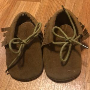 Brown baby moccasins